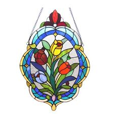 LAST ONE THIS PRICE  Oval Tulip Floral Tiffany Style Stained Glass Window Panel