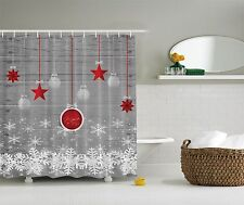 Red Holiday Star Ornaments and Snowflake & Gray Christmas Fabric Shower Curtain