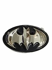 DC Comics BATMAN 3D Silvertone Logo Metal Enamel BELT BUCKLE