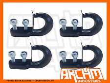 FOUR UNIVERSAL BLACK RECOVERY POINT OFFROAD TOW HOOK  4.5T 10000lbs PATROL/HILUX