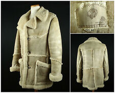 Vintage Shearling Sheepskin Leather Marlboro Ranch Coat Sz 44