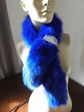 electric blue real genuine fox fur pelt collar scarf satin lining coat jacket