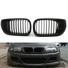 Front Grille 02-05 3 Series 4 Door Matte Kidney Style Black For BMW E46 Car H00A