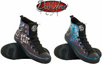 SPIRAL DIRECT Sneakers Men's High Top Lace up Canvas Shoes/Game Over/Flaming