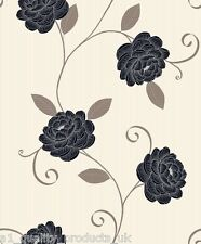 Debona - Wallpaper, Beige w/ Black Flower, Floral Design, Leaf BNIB Puccini 5566