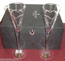 Waterford Love & Romance Champagne Flutes (SET/2) 139903 Wishes Heart Design New