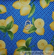 BonEful Fabric FQ Cotton Quilt Blue Green Yellow LEMON White Gingham Leaf Citrus