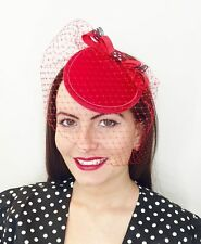 VINTAGE RED VEIL HAT HEADPIECE FASCINATOR PILLBOX 40'S WEDDING ASCOT PIN UP 50'S