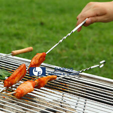"New 15"" 10pcs Stainless Steel Sticks BBQ Barbecue Grill Skewer Kabob Needle Fork"