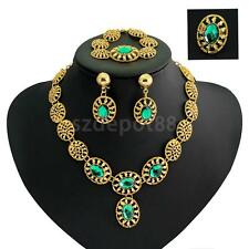 Bridal Necklace Bracelet Ring Earring Green Crystal Gold Plated Jewelry Set