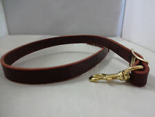 "Tie Down Strap Heavy Burgundy Latigo Leather 1"" Roping Tiedown Horse Brass Snap"