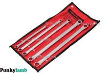 5pc Pro Extra Long Flat Ring Spanner Set 8mm to 19mm Long Reach Spanners Wrench