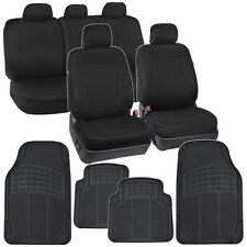 Full Black Car Seat Covers Front & 60/40 Rear w/ Rubber Floor Mats Auto Interior