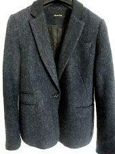 MASSIMO DUTTI WOOL WITH CONTRAST COLOR JACKET, NAVY BLUE, SIZE M