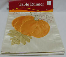 Halloween Pumpkin Theme Hand Craft Table Runner Light Gold Color 13in x 70in NEW