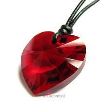 Ajustable Leather  Necklace use Swarovski Elements Crystal Heart Charm pendant