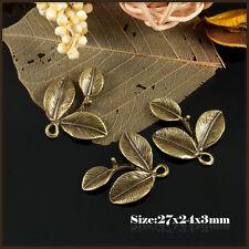 3 antique bronze feuille de style vintage charmes pendentif 080