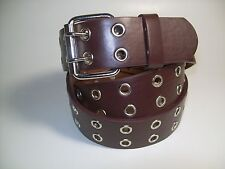 """Men Brown leather belt Two Metal Hold with Silver Buckle 46"""" #9915"""