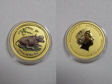 """Australien , 15 Dollar 2009 ST , Lunar II  """" Jahr des Ochsen """", Gold mit Farbe"""