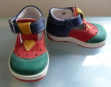Bellamy Baby Boys Shoes Size 2 Leather Bright Colours Traditional Red Blue Girls
