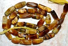 "Tiger Eye 8-11mm long x 4-5mm wide Faceted Baguette Gemstone Beads 14"" strand"