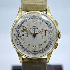 Vintage Wakmann Gold Plate Steel Back Venus 188 Chronograph Watch