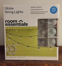 NIB Frosted White GLOBE STRING LIGHTS Wedding Patio Garden Party RV Shabby Paris