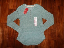 NWT Womens WOOLRICH Heather Green Thermal Henley Shirt Top Size S Small