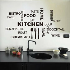 Removable kitchen letter quote wall decals sticker art living room decoration