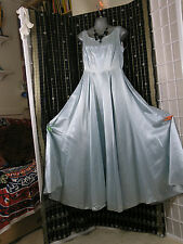 1940s ICE BLUE SATIN A-LINE Full length PARTY DRESS Maxi - S-M 10-12