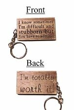 Laser Engraved Plywood Keyring, gift idea, Boyfriend/girlfriend/husband/wife