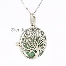Tree of Life Aromatherapy Essential Oil Diffuser Necklace Locket w/ Lava Stone