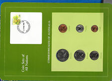 Coin Sets of All Nations Australia w/card Unc 50,20,10,5,2,1 cent 1982 23Mar1983