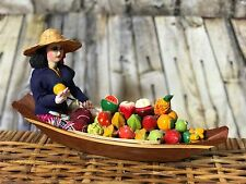 MINIATURE WOOD THAI BOAT FLOATING MARKET FRUITS FOOD COLLECTIBLE Woman Thailand