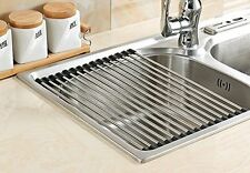 Dish Drainer Rack Stainless Steel Over Sink Fruit Wash Washing Dishes Drying Dry