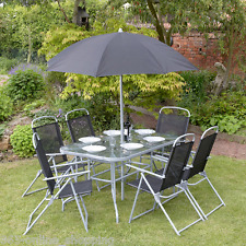 8Pc Garden Patio Furniture Set 6 Seater Dining Set Parasol Table And Chairs