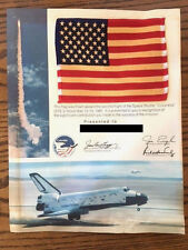 1981 NASA SPACE SHUTTLE COLUMBIA STS-2 MISSION FLOWN FLAG & CERTIFICATE