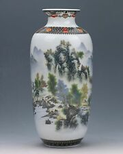 Chinese Famille Rose Porcelain Hand-painted Landscape Painting Vase W Qianlong