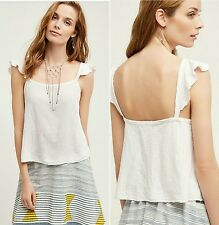 NWT Anthropologie Holding Horses Elodie Seersucker Ruffle Straps Ivory Tank Sz L