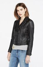Armani Exchange A|X Women's Leather Jacket Moto Biker Coat Distressed Black M