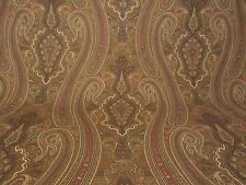 Ralph Lauren  PAISLEY FLORAL SCROLL FABRIC 1.75 Yards Chestnut Brown Green Red