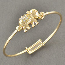 Toddler Jewelry Yellow Gold Filled Infant Childrens Crystal Elephants Bracelet
