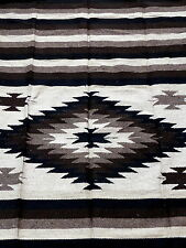 Authentic Mexican Blanket Rug Neutral Tones Brown South West Mexicana Style