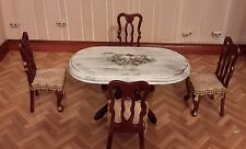Dolls house dining table and chair set hand decorated in shabby chic style