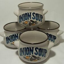 Onion Soup Bowls Set of Four Decorative Tableware Mint Condition