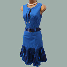 KAREN MILLEN Cotton Royal Blue Embroidered Shirt Style Branded KM Summer Dress 8