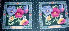 "Pansy Floral Fabric Pillow Panel Quilt Squares Cotton Springs 2-16"" Squares"