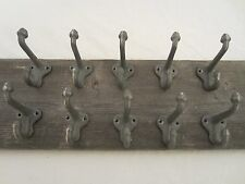 "10 CAST IRON ACORN HOOKS SILVER 2 3/4"" LONG HOOK COAT HAT WALL HOOK FARM RANCH"