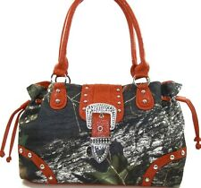 MOSSY OAK RED & CAMOUFLAGE DRAWSTRING PURSE, CAMO HANDBAG LICENSED