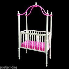 Pink Nursery Crib Bed Canopy 1/6 Barbie Kelly Doll's House Dollhouse Furniture
